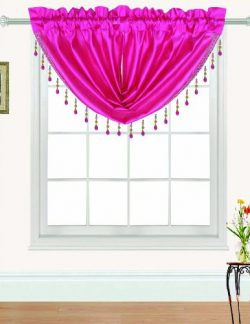 RT Designers Collection Nikki Faux Silk Beaded 47 x 37 in. Swag Valance, Neon Pink