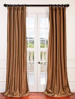 Half Price Drapes PTCH-BO206-96 Blackout Faux Silk Taffeta Curtain, Gold Nugget