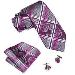 Barry.Wang Mens Tie Set Paisley Check Tie Hanky Cufflinks Silk Purple