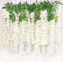 Lannu 6 Pack 3.6 FT Super Dense Artificial Fake Hanging Wisteria Vine Ratta Silk Flowers String  ...