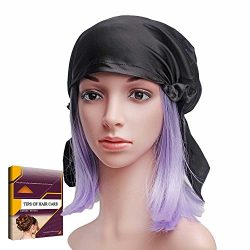 Savena 100% Mulberry Silk Night Sleeping Cap for Long Hair Bonnet Hat Smooth Soft Many Colors, H ...
