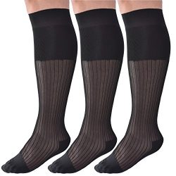 Mens Dress Socks Silk Sheer Trouser Sock Over The Calf Cool For Summer 3 Packs (one size fits al ...