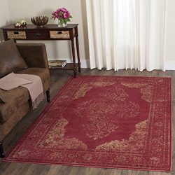 Safavieh Vintage Premium Collection VTG122-6220 Transitional Oriental Rose Distressed Silky Visc ...