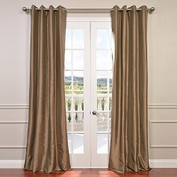 Half Price Drapes PTCH-BO206-96-GR Grommet Blackout Faux Silk Taffeta Curtain, Gold Nugget