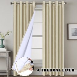 Blackout Living Room Curtains Premium Luxury and Durable Faux Silk Lined Curtain Panels Thermal  ...