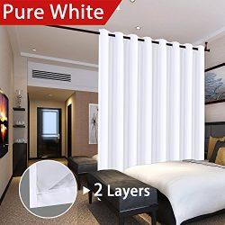 Flamingo P Full Blackout Pure White Wide Patio Door Curtains Faux Silk Satin with White Liner Th ...