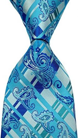 Scott Alone : New Classic Striped Paisley Jacquard Woven Silk Men's Tie Necktie (Turquoise ...