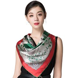 "Silk Scarf Women, 100% Silk Pure Mulberry for Women Square Wrap 35""x35"" (red1)"