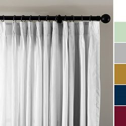 ChadMade Vintage Textured Faux Dupioni Silk Curtain Panel Pinch Pleated 50″ W x 96″  ...