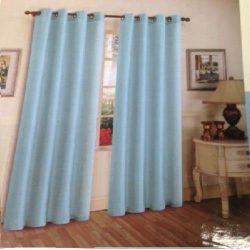 2Piece Solid Baby Light Blue Metal Grommet Faux Silk Window Curtain Panels Drape