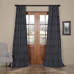 Half Price Drapes PTFFLK-C23C-120 Flocked Faux Silk Curtain, 50 x 120, Deep Blue & Silver