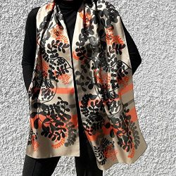 Artistic Hand Painted Pink Silk Scarf Mother's Day Gift Boho Style Any Weather Scarves &am ...