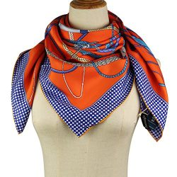 Silk Square Scarf – 100% Natural Twill Silk 14MM Hand Rolling Edge Hair Wrap 35.4″35 ...