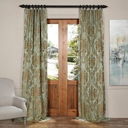Half Price Drapes JQCH-201272-96 Magdelena Faux Silk Jacquard Curtain, 50 x 96, Jade & Gold