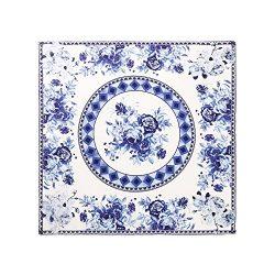 Aqueena Women's 100% Luxury Square Silk Neckerchief Digital Printing Scarf (Blue and white ...
