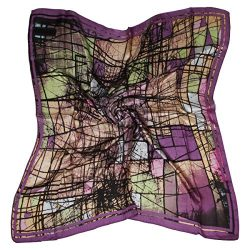 "ETSYG 32"" Silk Scarf Women's Purple Abstract Pattern Large Square Satin Headscarf Headdress"