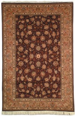 Safavieh Tabriz Floral Collection TF101C Hand-Knotted Burgundy and Camel Silk & Wool Area Ru ...