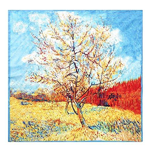 Aqueena Women's 100% Luxury Square Silk Neckerchief Digital Printing Scarf oil painting co ...