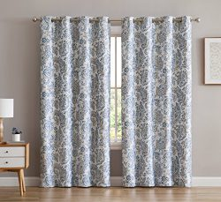 HLC.ME Amalfi Faux Silk 100% Blackout Room Darkening Thermal Lined Curtain Grommet Panels For Be ...