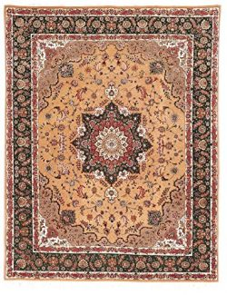 Safavieh Tabriz Floral Collection TF30 Hand-Knotted Navy and Beige Silk & Wool Area Rug, 8 f ...