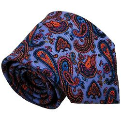 Qobod Classic Men's 100% Silk Tie Necktie Woven JACQUARD Neck Ties gift box purple orange  ...