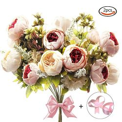 CEWOR 2 Pack Artificial Peony Silk Flowers Bouquet (Pink) with a roll of Satin Ribbon (Pink) for ...