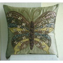 Handmade Olive Green Pillow Cases, Butterfly Theme Sequins and Beaded Pillows Cover, Pillow Cove ...