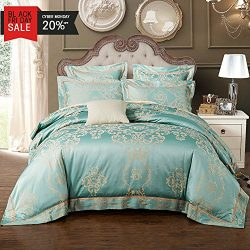 MKXI Duvet Cover Set Vintage European Pattern Sateen Jacquard King Size Quilt Sets Green