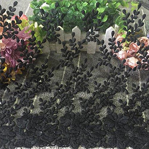 Black Transparent mesh embroidery flower voile lace trim applique DIY clothing accessories silk  ...