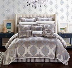 Chic Home Cipriana 13 Piece Comforter Set Jacquard Scroll Faux Silk Bed in a Bag Bedding with Pl ...