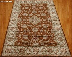 Homemusthaves Brown Beige Green Red Orange Traditional Persian Floral Faux Silk Rug Carpet (4X6)