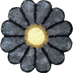 Ustide Grey Sunflower Rug Shag Area Rug Cozy Floor Mat, 35.4-inch