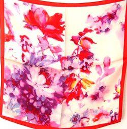100% Charmeuse Silk Scarf Bandana Headband Floral By Silksalon Pink Red A1095