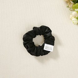 silk satin hair scrunchies set of 2 black