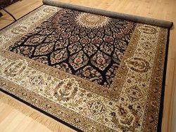 Silk Persian Style Navy Rug Area Rugs 5×8 Navy Carpet Living Room 5×7 Navy Rug Luxury  ...