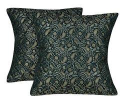 Lalhaveli Paisley Design Brocade Silk Paded Green Cushion Cover Christmas Gift Set Of 2 Pcs 16 X ...