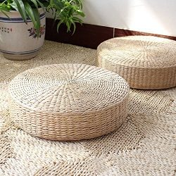 3 BEES® Japanese Style Handcrafted Eco-friendly Breathable Padded Knitted Straw Flat Seat Cushio ...