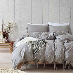 Hihotel 3 Pcs Duvet Cover Set, Washed Cotton Soft Solid Color Cover Quilt Case Hypoallergenic, Z ...
