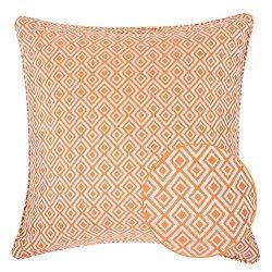 Homey Cozy Jacquard Cotton Throw Pillow Cover,Orange Diamond Modern Silk Plaid Textured Sofa Cou ...