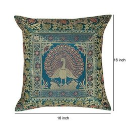 India Style Peacock Decorative Throw Pillow Case Cushion Cover For Sofa Couch Chair 16 x 16 Inch