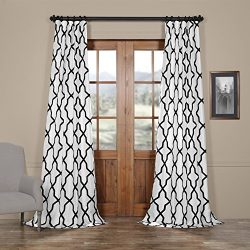Half Price Drapes Ptfflk-C35C-96 Pinnacle Flocked Faux Silk Curtain, 50 x 96, White and Black