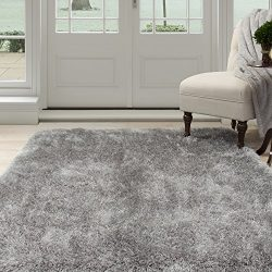 Lavish Home 62-GRE335 Lavish Home Shag Area Rug, Grey, 3'3″ x 5′