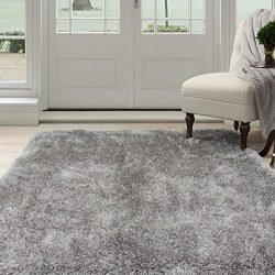 Lavish Home 62-GRE5377 Lavish Home Shag Area Rug, Grey, 5'3″ x 7'7″