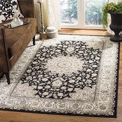 Safavieh Atlas Collection ATL668G Black and Ivory Oriental Viscose Area Rug (8′ x 10′)