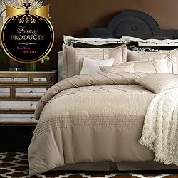 Luxury Solid Beige King Duvet Cover Set Handcraft Line Plaid Bedding Duvet Cover Set Vintage Eur ...