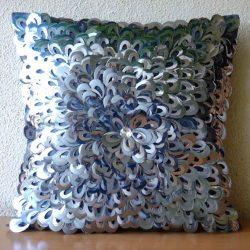 Handmade Silver Accent Pillows, 3D Textured Sequins Flower Glitter Floral Theme Pillows Cover, 2 ...