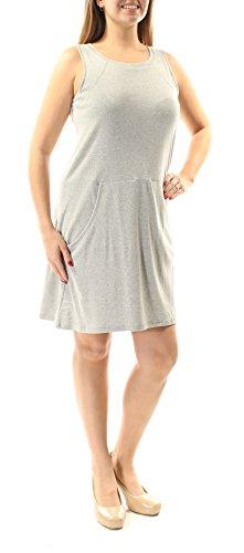 August Silk Women's Sleeveless Crew Neck Dress, Grey Heather, Large