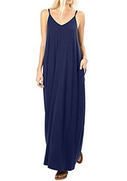 UniDear Women's Summer Casual Plain Swing Side Pockets Loose Beach Cami Maxi Long Dress Na ...