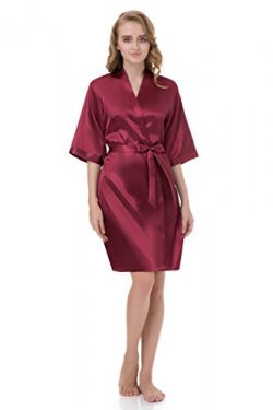 gusuqing Women's Pure Color Short Kimono Robe Sleeve Bridesmaid Robe Dark Burgundy 28 XL