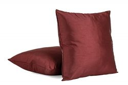 Solid Color Faux Silk 24″ X 24″ Square Decorative Euro Cushion Cover Throw Pillow Co ...